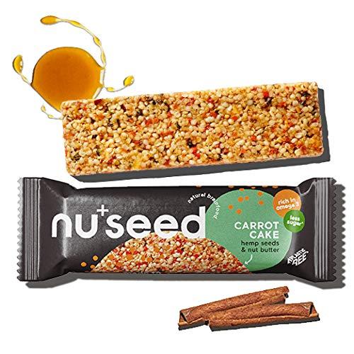 nuseed. Natural Brainfood Snack -Carrot Cake- Vegane Hanfsamen & Nussmuß Energieriegel gegen Ideenarmut am Arbeitsplatz. Bio Müsli-, Nussriegel ohne Industrie-Zucker & Süßstoff  12 Riegel, 420g