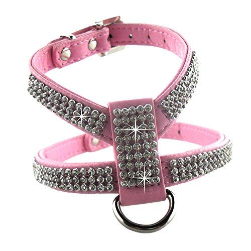 Eizr Hunde Geschirr Verstellbare Sicherheitsgeschirr Brustgeschirr Hundegeschirr Ultra-Soft Einfarbig Weiches mit Diamanten Bling Strass 4 Sizes XS/ S/ M/ L 4 Farben- Schwarz / Blau / Rot / Rosa
