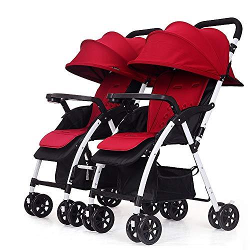 TY-Baby trolley Mmm @ Poussette jumeau, Chariot de bébé Pliable léger détachable de Double Chariot Infantile Chariot ( Color : Rouge )