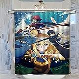 DRAGON VINES Sword Art Online - Cortina de ducha (183 x 183 cm, resistente al moho y al moho, con 12 ganchos de plástico, lavable