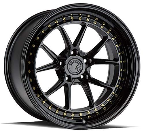 Aodhan DS08 Custom Wheel - 18x9.5, 22 Offset, 5x114.3 Bolt Pattern, 73.1mm Hub - Gloss Black with Gold Rivets Rim