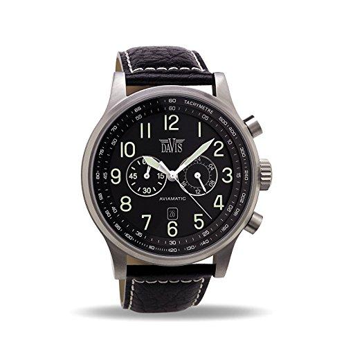 Davis - Herren Fliegeruhr Chronograph Wasserdicht 50M Datum Lederarmband (Schwarz/Lederarmband Schwarz)