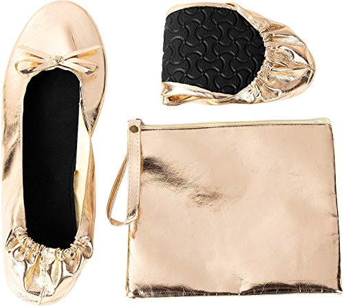 Foldable Ballet Flats - Women's Portable Ballerina Roll up Shoes with Pouch, Nude, XL