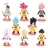 BKJJ Dragon Ball Cupcake Toppers, 8PCS Decoraciones para Tartas Dragon Ball Figuras Set Dragon Ball Happy Birthday Party Supplies Decoraciones