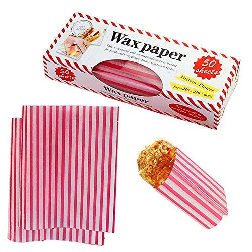 50 hojas de papel encerado desechables para picnic, papel de regalo para alimentos, papel a prueba de grasa, papel de regalo para alimentos