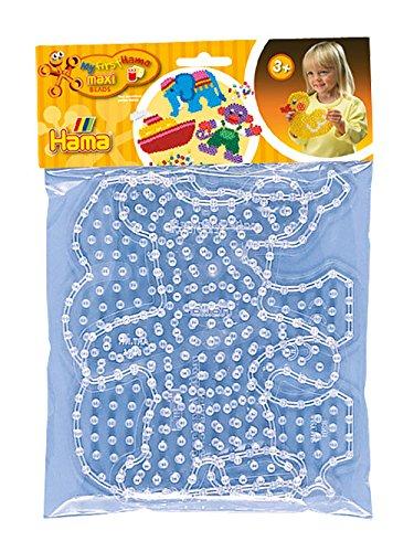 Hama Perlen 8251 Stiftplatten 2er Set für Maxi Bügelperlen mit Durchmesser 10 mm, Motive Elefant und Teddy in transparent, kreativer Bastelspaß für Groß und Klein