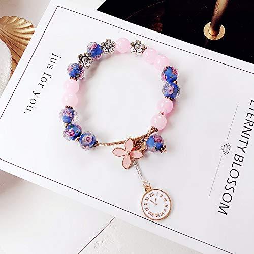 Pulsera de cuentas de cristal dulce para niña y mujer, accesorios de personalidad simple de metal gota de aceite flor reloj colgante joyería (color de metal: 2)