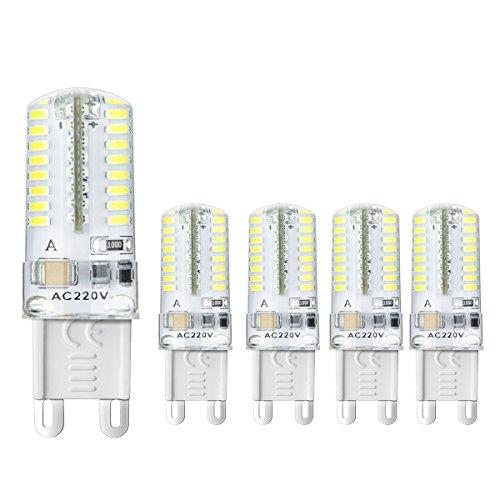 Ahevo 5 pcs bombilla LED G9 ,3 W, equivalente a halógeno de 20 W lámpara, 250 lm, AC 220 V, 64-leds 3014 SMD, Blanco (6000 K), Blanco, G9, 3.00W 230.00V