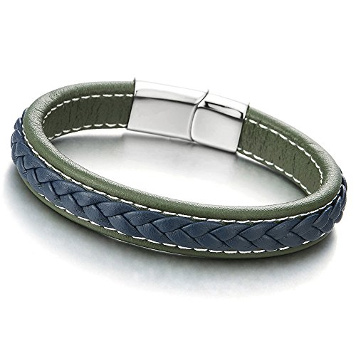 COOLSTEELANDBEYOND Unisex Herren Damen Blau Grün Geflochtenes Lederarmband Herren Damen Armband Echtes Leder Armreif, Edelstahl Verschluss