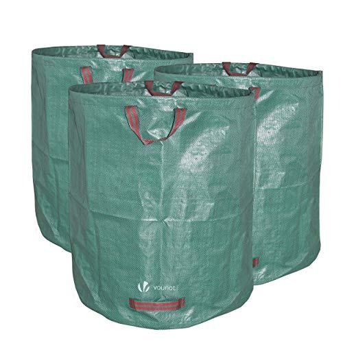 VOUNOT Gartenabfallsack 272 Liter, 3er Gartensäcke für Grünabfall, Selbststehend und Falt, Laubsack Selbstaufstellend aus robustem Polypropylen-Gewebe (PP) 150gsm