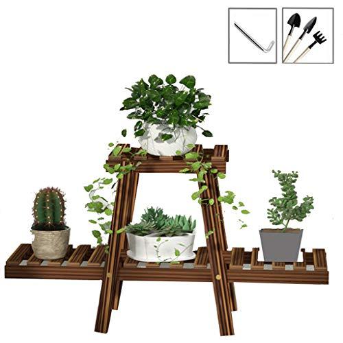 LXYStands Houten plantenrek voor bloemen, 2 etages voor bloempotten, ladder, decoratief plantenrek, voor binnen en buiten, 70 x 25 x 44 cm