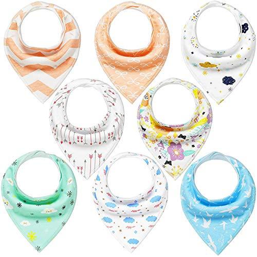 Dreieckstuch Baby 8er Lätzchen Halstücher Saugfähig Weich Spucktuch Baumwolle mit Druckknöpfen für Jungen und Mädchen YOOFOSS