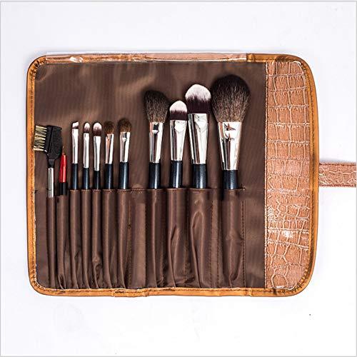 Set de pinceaux de maquillage, 11 pinceaux de maquillage multifonctions pour fard à paupières cache-cache Blend Foundation, violet/café,Brown