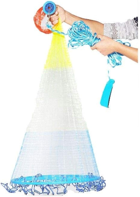 Fish Net,Fishing Nets,Throw Netting,Casting Nets,Throwing Hand Throwing Mesh,Sinker,Nylon Monofilament,for Nautical Freshwater Seawater Bait Traps,3.9ft (1.2m)8.8ft (2.7m) Radius,3 8 inch(1cm) Mesh