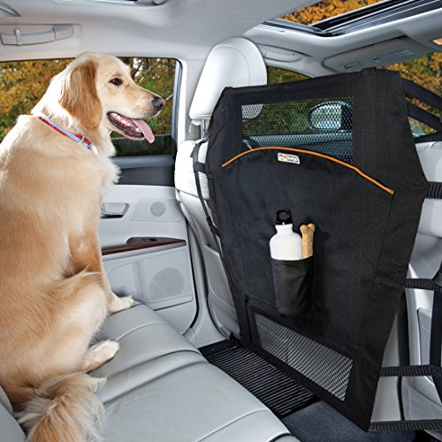 Kurgo Rücksitz Hundebarriere für Autos & Geländewagen, Rücksitzbarriere für Hunde, Ablenkungen während der Fahrt reduzieren, Netzöffnung, Einfache Installation, Aufbewahrungstaschen, Universal Fit