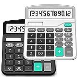 Calculatrice, Splaks 2 Pack Calculatrice de Bureau Fonctionnelle Standard Sola et Calculatrice Électronique avec Grand Affichage à 12 chiffres (1 Noir et 1 Argent)