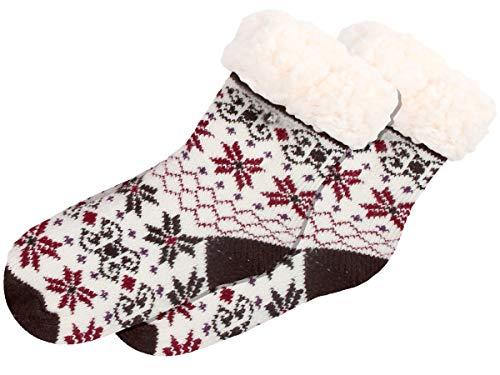 Alsino Calze Invernali per Casa Taglia Unica per Bambini 25-30 Antiscivolo Fodera Calda Termica Morbidissimi Stile Norvegese Bimbi Bianco Rosso Marrone