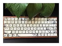キーキャップ外し キーボードRGB茶青のミニ84ボックススイッチゲームキーボード色素サブPBTキーキャップ キーキャップ シリコン (Axis Body : CherryRGB Silent Red, Color : B model)