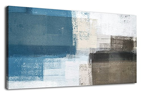 Wall Art Abstract Canvas Painting Picture Modern Vintage Canvas Artwork Long Contemporary Art 20' x 40' for Office Bedroom Living Room Bathroom Kitchen Wall Decor Home Decorations Blue Grey Brown