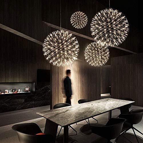 Lámpara colgante LED para interior de acero inoxidable, diseño de bola, 9 W, luz cálida, 3000 K, 18 lúmenes, altura regulable, lámpara de techo para salón, dormitorio, oficina, φ 30 cm