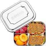 BREADL Edelstahl Brotdose 1000ml, Spülmaschinenfest, BPA-frei, Trennwand und 3 Fächer, Lunchbox & Bento-Box für Kinder & Erwachsene für Schule, Arbeit, Uni,...