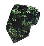 Men's Green Black 100% Silk Ties Cravat Woven Jacquard Casual Spring Neckties for ST Patrick's Day