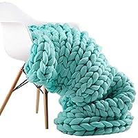 ARLT ファッション手編みティメリノウール毛布厚い大きな糸のロービングニットヤーン毛布の暖かい投げスローソファの毛布 (Color : Light green, Size : 100x100cm)