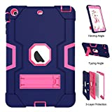 iPad Mini Case,iPad Mini 2 Case,iPad Mini 3 Case, UZER Heavy Duty Shockproof Anti-Slip Silicone High Impact Resistant Hybrid Three Layer Armor Protective Case Cover with Kickstand for iPad Mini 1/2/3