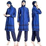 Women Muslim Swimwear Islamic Modest Swimsuit Muslim Sun Protection Burkini (4XL, Blue)