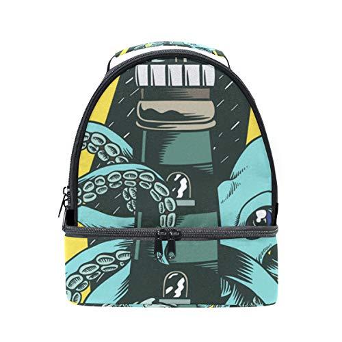 Schouder Dubbele Lunch Bag Storm Night Octopus Lighthouse Cooler Verstelbare Band voor Picnic