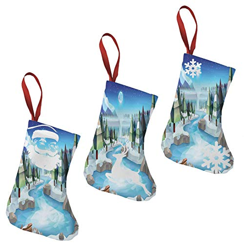niBBuns Xmas Gift Christmas Stockings 3 Pcs Set, Fantastic Winterland Illustration with Low Poly Style River Mountains and Forest,Fireplace Hanging Stockings and Xmas Home Decoration