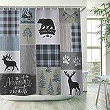 RosieLily Cabin Shower Curtain, Halloween Shower Curtain, Rustic Bear...