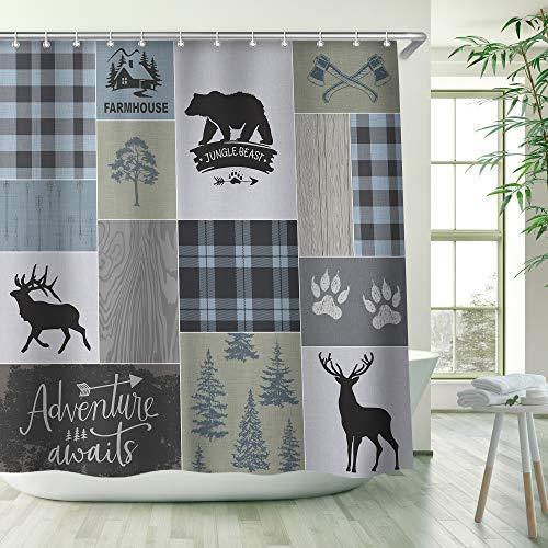 RosieLily Lodge Shower Curtain Rustic Shower Curtain Bear Moose Bath Curtain Country Cabin Deer Bathroom Decor with 12 Hooks 72 Inch Wildlife Adventure Shower Curtain