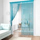 Cortina de tiras taiyuhomes, para decoración del hogar y separador con borla, azul, w90xl200cm(35x79')