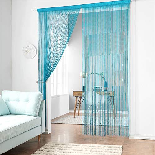 Cortina de tiras Taiyuhomes, para decoración del hogar y separador con borla, azul, W90xL200cm(35x79