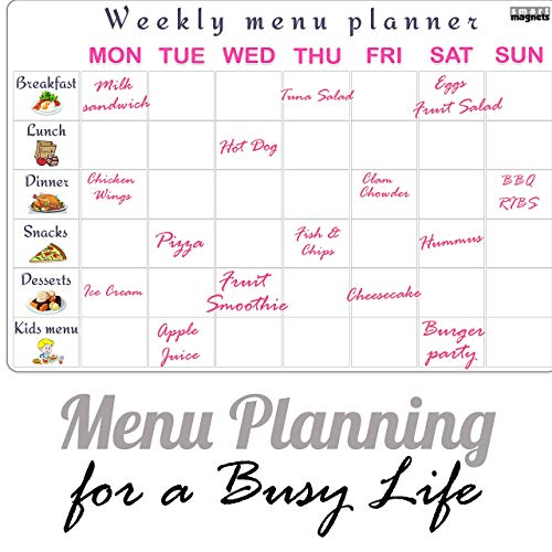 Dry Erase Board Menu   Meal Planning Pad for Family - Kitchen Menu Dry Erase Magnetic List for Refrigerator by SmartMagnets