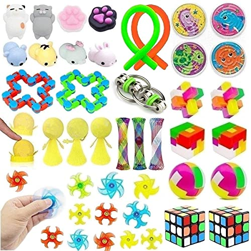 39 Pack Fidget Toys Bundle for Kids and Adults, Sensory Toys Set for Stress Relief and Anti-Anxiety, Sensory Fidget Hand Toys for ADD ADHD Autism, School Supplies for Autistic Children