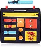 globalqi Beschäftigtes Brett für Kleinkinder, Montessori-Aktivitätsbrett für Grundfertigkeiten für Feinmotorik und Lernen, Sich anzuziehen, Lernspielzeug für 1 2 3 4-jährige Kinder