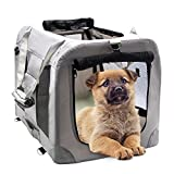 MIEMIE Soft Collapsible Dog Travel Crate Portable Dog Kennel with Straps and Mat, Pet Carrier - Great for Indoor and Outdoor Use (23' L x 17' W x 17' H, Grey)