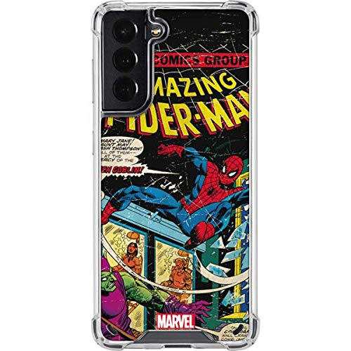 Skinit Clear Phone Case Compatible with Galaxy S21 5G - Officially Licensed Marvel Marvel Comics Spiderman Design