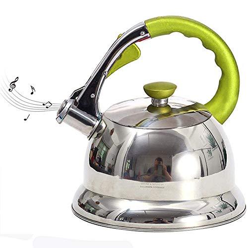 Tetera silbante de acero inoxidable Estufa tetera silba del acero inoxidable de la tetera tetera con Mango ergonómico for cocina de inducción, estufa de gas, estufa de cerámica, halógeno estufa, 3.5 l