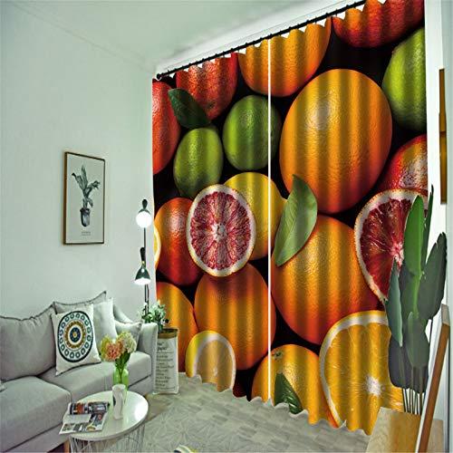 FACWAWF Hogar 3D Naranja Patrón Tridimensional Tela De Poliéster Dormitorio Sala De Estar Balcón Sala De Estudio Cortina Cortina 184x160cm(2pcs)