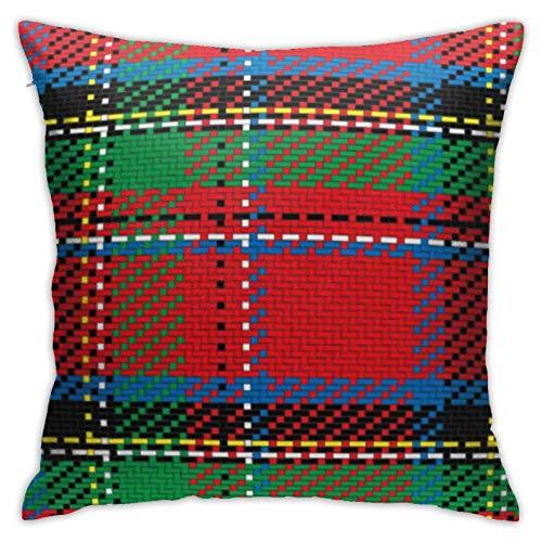 Throw Pillow Cover Green Abstract Scottish Tartan Royal Stewart Plaid Rojo Negro Gran Bretaña Funda de Almohada Cuadrada para sofá Dormitorio Coche