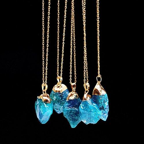Women Teen Girls Long Sweater Crystal Quartz Pendant Necklace Mingfa Rainbow Stone Rock Natural Gold Plated Chain Jewelry (Blue)