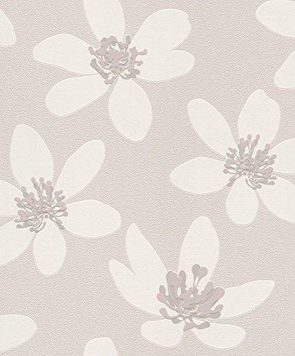Vliestapete Blumen Geblümt Floral grau Tapete Rasch Prego 700145