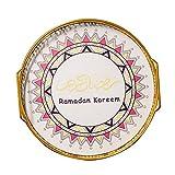 Angoily Bandeja Musulmán Eid Mubarak Actividades de Ramadan Decoración de Fiesta Contenedor de Almacenamiento de Alimentos Artesanal Plato de Servicio para Snack Postre Pastel