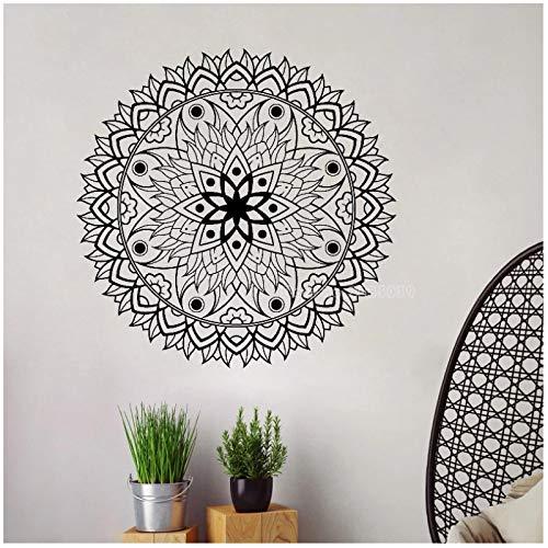 WYLYSD Mandala Wall Art Decal Meditación Yoga Studio Flor Grande Dormitorio Sala De Estar Etiqueta De La Pared Decoración Papel Tapiz 56Cm X 56Cm