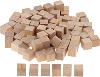 Flameer 100 Pieces Wooden Cubes Unfinished Square Cubes Wood Blocks for Math Puzzle Making Craft DIY Projects Gift