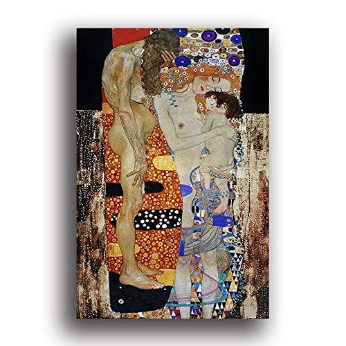 Vefvce 5D Full Diamond Painting Die DREI Zeitalter der Frau Von Gustav Klimt Diamantstickerei Stickerei Bild WandaufkleberRaumdekorFullSquareDrill 40 × 50cm