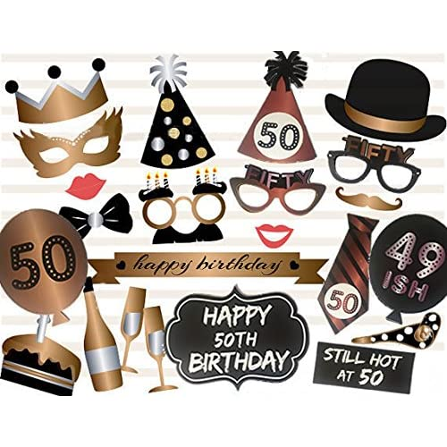 Veewon 50th Birthday Photo Booth Props Party Favor Kit
